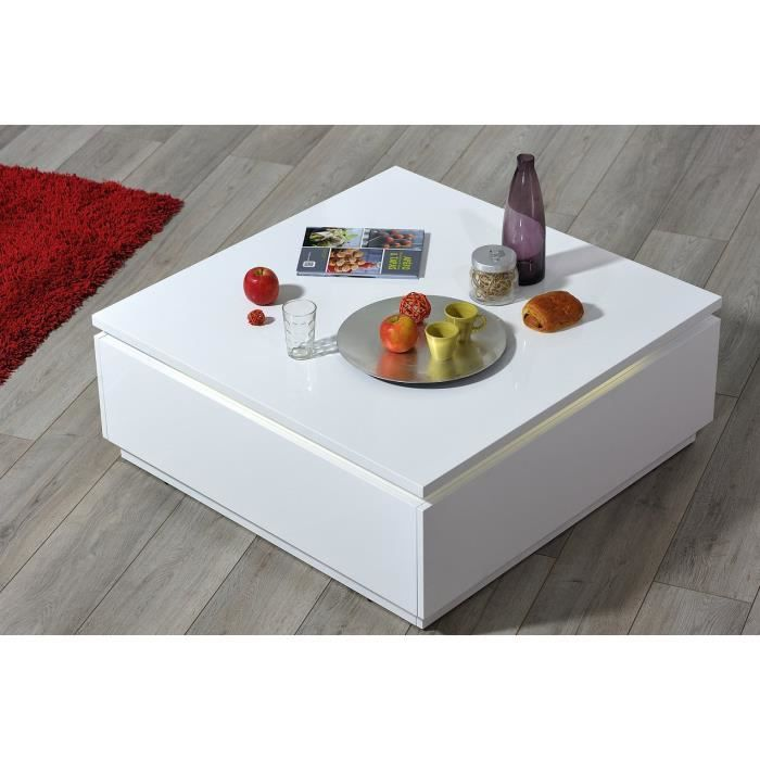 table basse carr e blanc laqu e avec clairage achat. Black Bedroom Furniture Sets. Home Design Ideas