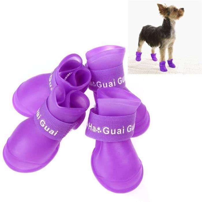 4pcs Pack de bottes chiens pluie les Violet pour 0vwONny8m