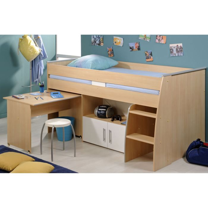 lit combin adolescent 90x200 cm h tre et blanc achat. Black Bedroom Furniture Sets. Home Design Ideas