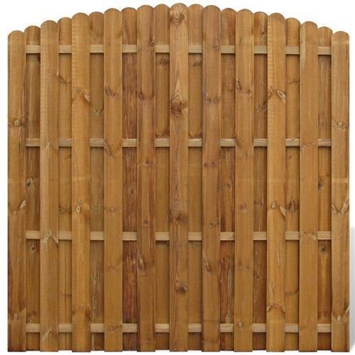 Panneau de cl ture arqu en bois avec planches intercal es for Barriere piscine aqualux