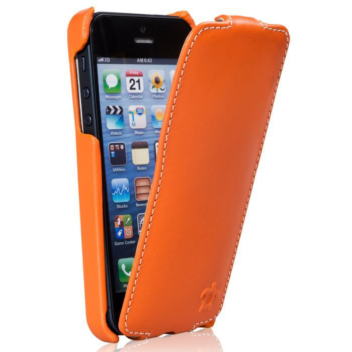 Housse pour iphone 5 cuir orange blanc collec achat for Housse cuir iphone 5