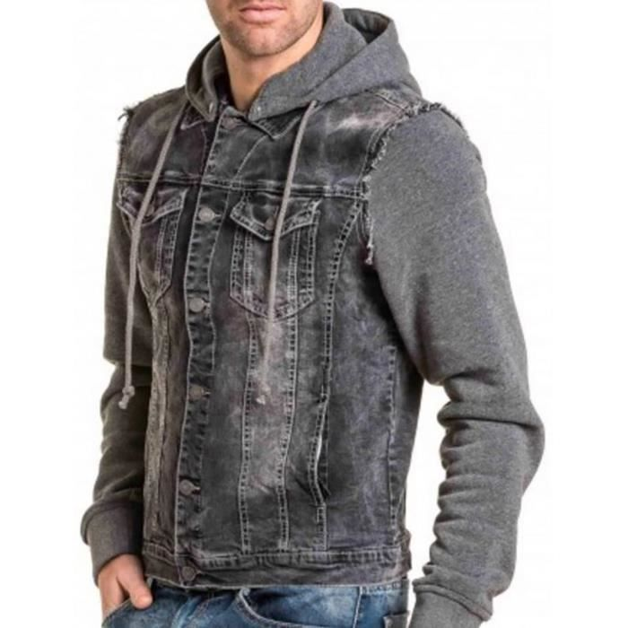 veste jean capuche hommes couleur gris noir gris gris achat vente veste soldes d s le. Black Bedroom Furniture Sets. Home Design Ideas
