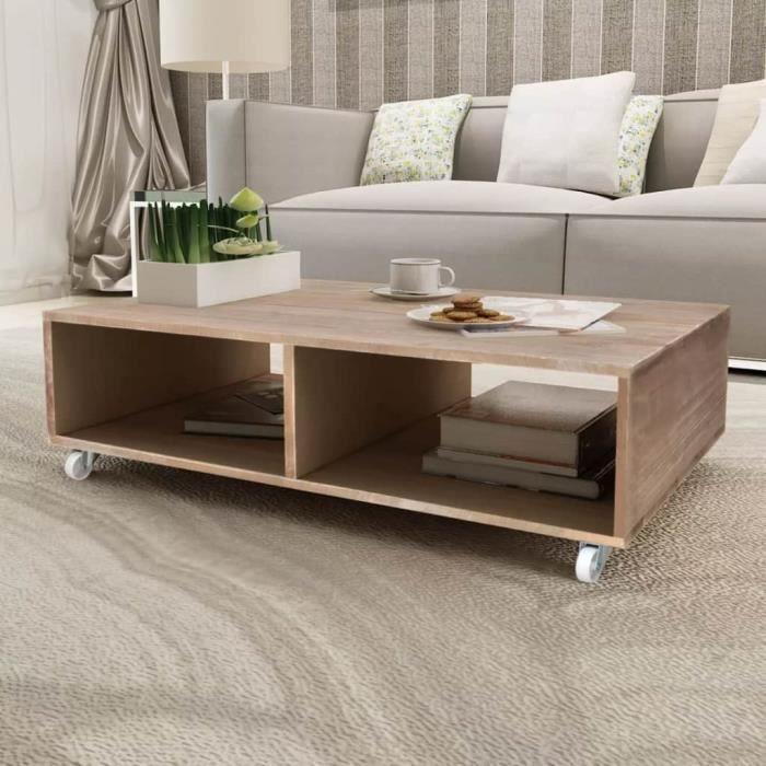 Moderne Table basse Table à thé console salon contemporain scandinave Bois  massif Marron