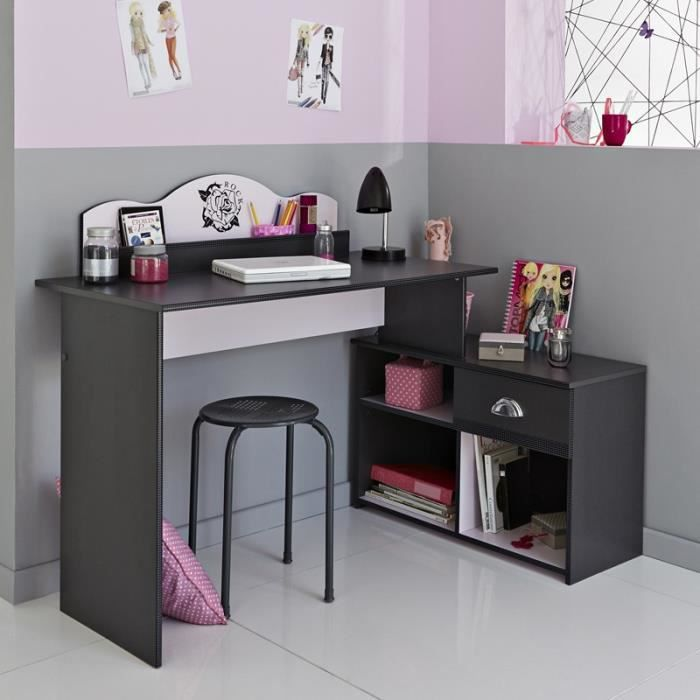 paris prix bureau enfant flora gris achat vente. Black Bedroom Furniture Sets. Home Design Ideas