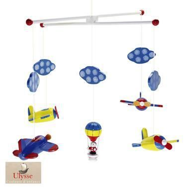 mobile suspension avion montgolfiere jeu d eveil decoration chambre d enfant achat vente. Black Bedroom Furniture Sets. Home Design Ideas