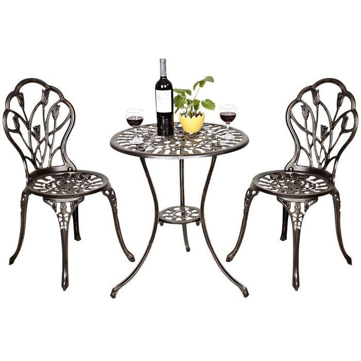 COSTWAY Table de Jardin et 2 Chaises en Aluminium Ensemble Bistrot pour  Jardin Coulé Bronze et Noir Style Antique
