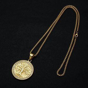 SAUTOIR ET COLLIER Collier Pendentif-Arbre de Vie-Médaille Ronde-En a