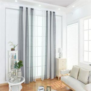 RIDEAU 1x Rideau Rayures  100x200 cm  couleur Gris blanc