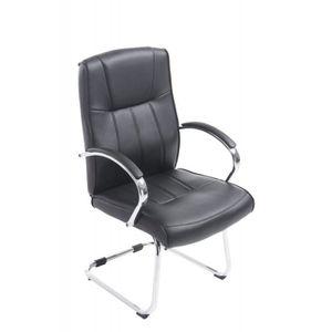 CHAISE DE BUREAU Fauteuil chaise de bureau sans roulette en PU noir