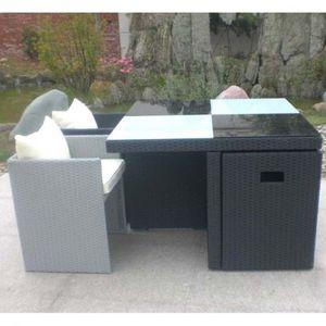 Salon de jardin Table et 4 fauteuils encastrables - Achat ...