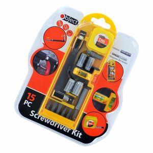 Nouveau 15pc Précision Sécurité Outil Magnétique Porte-embout Tournevis Réparation Set Kit