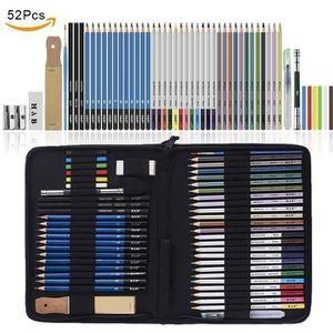 KIT DE DESSIN  52PCS Crayons de Couleurs, Esquisse Crayons Ensem