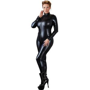 COLLANT Sexy Femmes PU Combinaison En Cuir Avant Zipper Ou