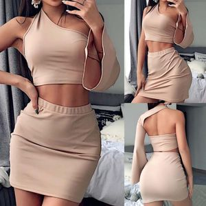 JUPE Femmes Sexy Two Piece Crop Top + Jupe à manches lo