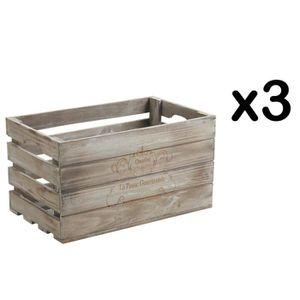 CASIER POUR MEUBLE Lot de 3 caisses de rangement en bois teinté, 38 x