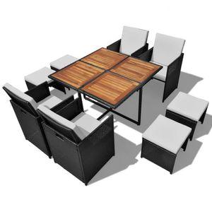 SALON DE JARDIN  Jeu de salle à manger 21 pcs Rotin synthétique Aca