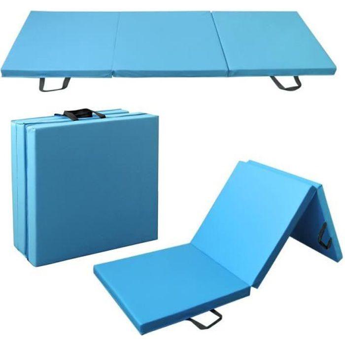 HEK 180cm Tapis de Gymnastique Tapis Sol Pliable Tapis de Yoga Portable avec Poignées de Transport 3 panneaux