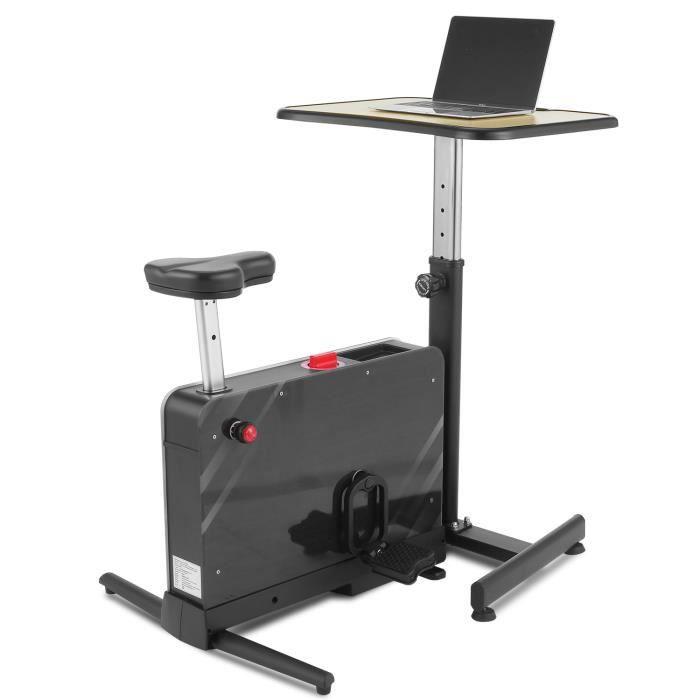Vélo d'appartement avec Table Réglable en Hauteur pour Maison/Bureau, Vélo de Fitness avec 8 Niveaux Résistance Magnétique, Noir