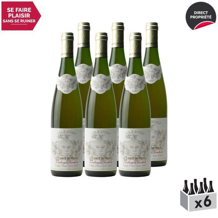 Alsace Pinot Gris Vendanges Tardives Blanc 1997 - Lot de 6x75cl - Alsace Munsch - Vin AOC Blanc d' Alsace - Cépage Pinot Gris
