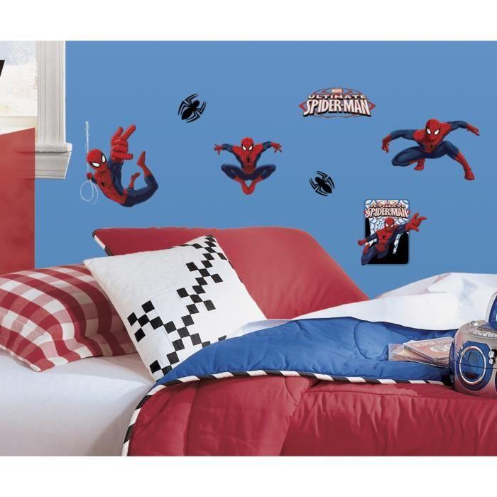 SPIDERMAN Stickers Muraux Enfant (4 Planches Repositionnables)