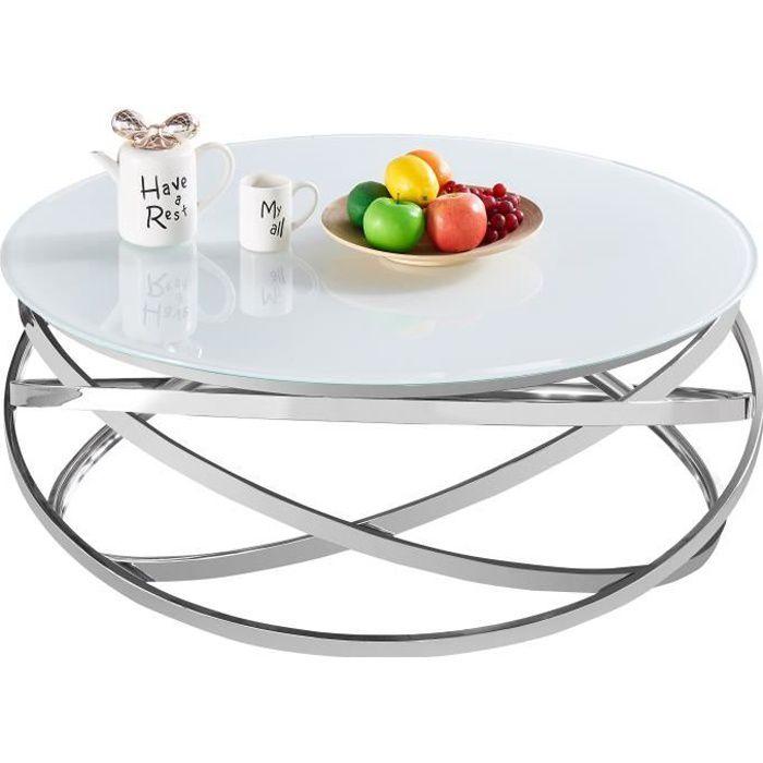 Table basse design rond avec piètement en acier inoxydable poli argenté et plateau en verre trempé blanc L. 100 x H. 43 cm