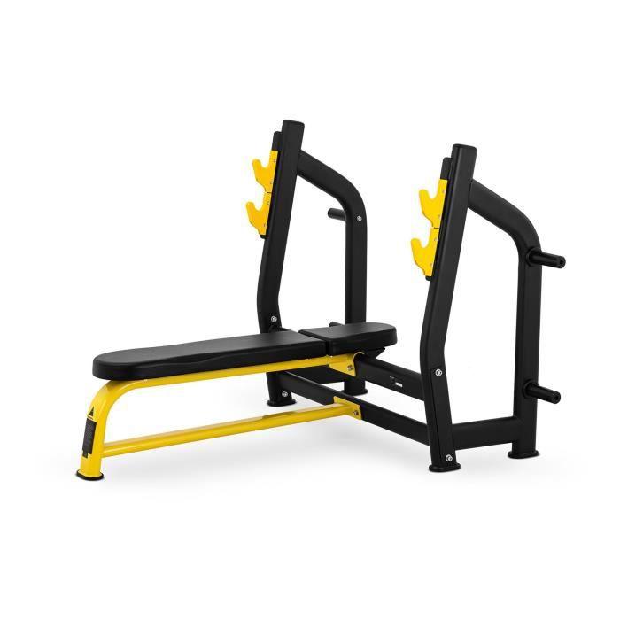 Banc De Musculation Avec Support De Barres Haltères Abdominaux Pectoraux Fitness