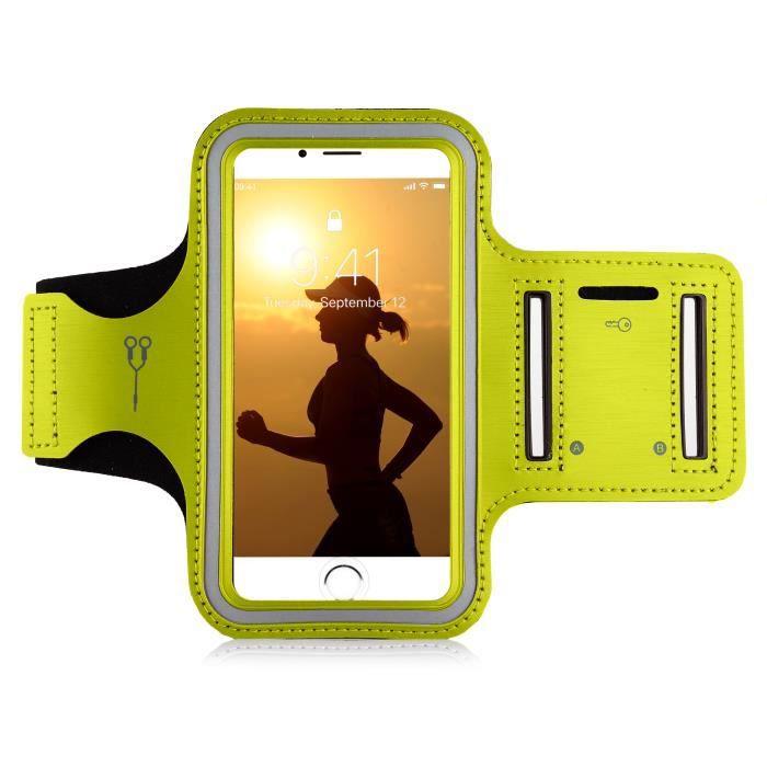 MyGadget Brassard Sport pour Smartphone 5,1- Apple Android Samsung - Armband léger pour Jogging - Sangle élastique réglable - Jaune