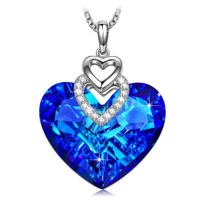SIVERY -Coeur d'Océan- collier femme, Collier bleu avec Pendentif Femme avec Cristal Swarovski Elements, bijoux femme, collier co