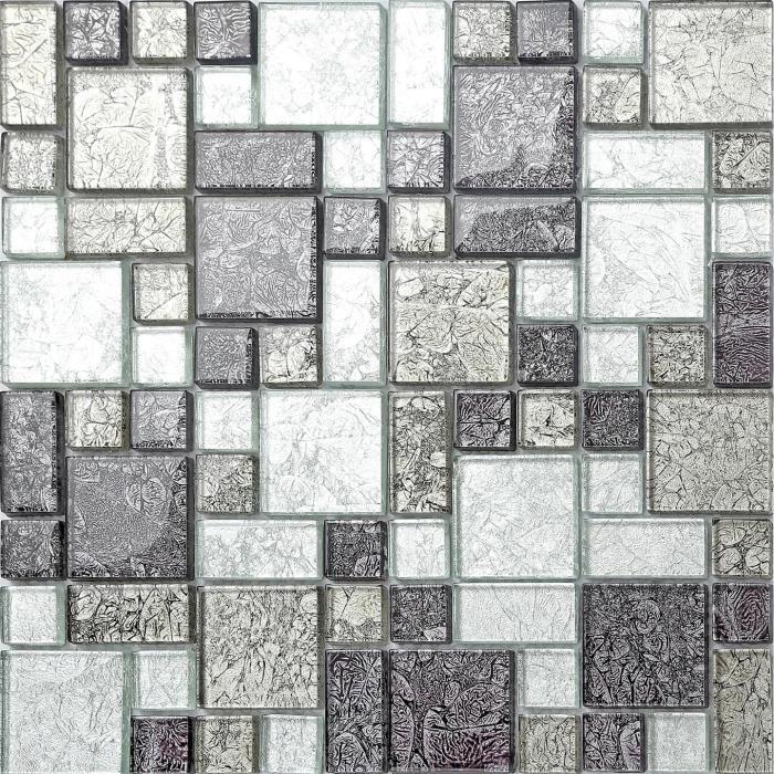 Carrelage mosaïque en verre. Noir et Argent. (MT0044) - 30cm x 30cm sheet