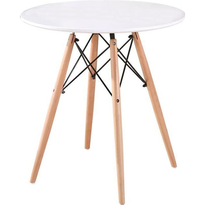 Ø70CM Table à manger ronde de 2 à 4 personnes scandinave blanc laqué + pieds en bois hêtre massif
