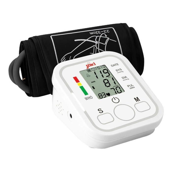 Tensiomètre numérique Sphygmomanomètre électronique 99 * 2 Test de fréquence cardiaque en mémoire Grand écran LCD