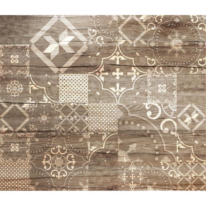 Crédence adhésive en alu imitation Bois - L. 20 x l. 20 cm - Marron