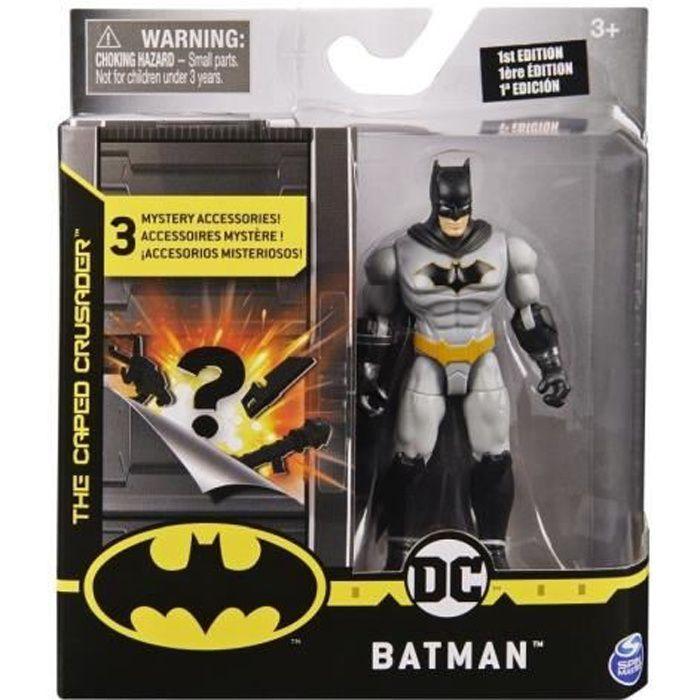 Coffret Figurine Batman Gris 10 cm Avec 3 Accessoires Mystere - DC - Super Heros - Jouet Garcon