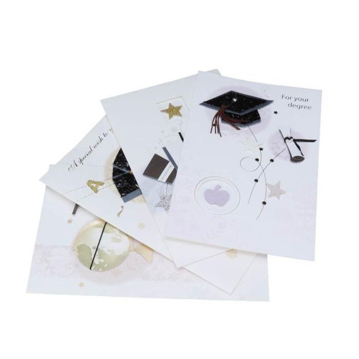 EJ.life Carte de remise des diplômes 4 cartes de voeux de remise des diplômes avec enveloppes cadeau carte postale chapeau et robe