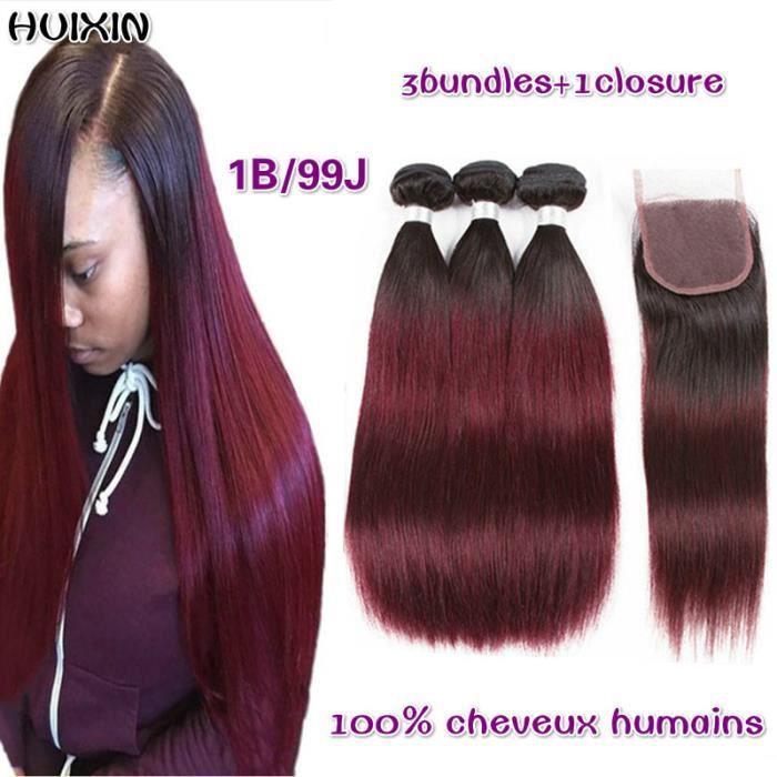 3tissage 1B-99J Ombre Hair Brésilienne Lisse Vierge Raides Cheveux Raides 100g-p+4x4closure(22 24 26+20-closure)