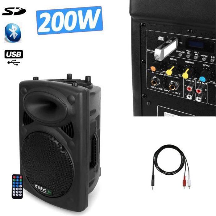 Enceinte DJ SONO amplifiée 200W MP3 IBIZA SOUND SLK8A-BT + câble PC