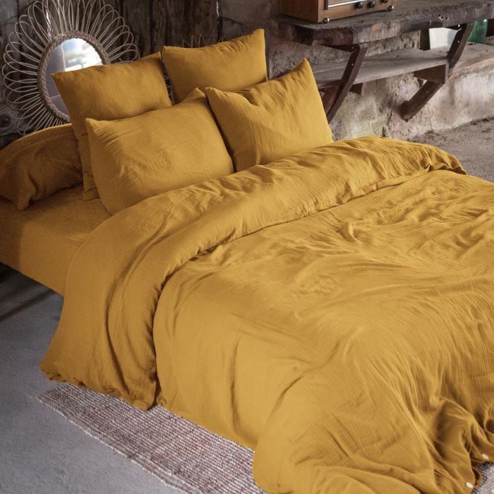 CDaffaires Housse de couette double gaze de coton 240 x 220 cm safran (yellow) Jaune