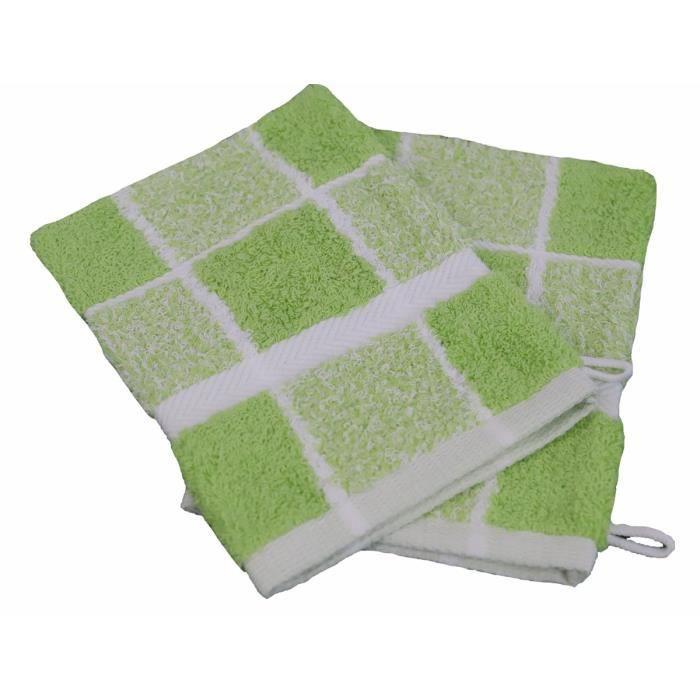LINANDELLE - Lot de 2 gants de toilette coton bouclette Carreaux CELESTE - Vert pistache - 15x21 cm
