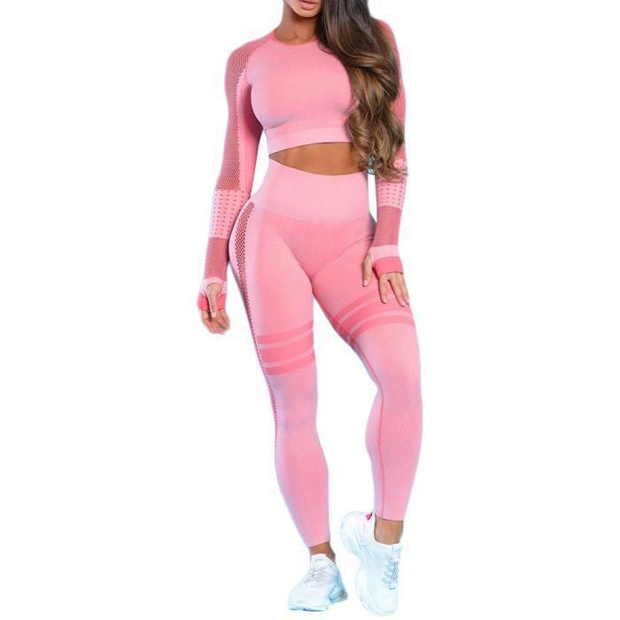 Ensemble de Sport Femme 2 Pièces Vêtements de Fitness Pink L