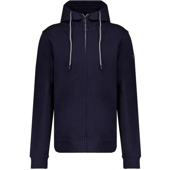 DEELUXE Sweat zippé à capuche en coton bio COOLING Night Blue
