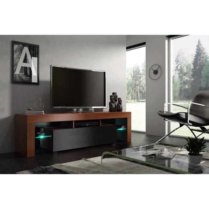 Meuble tv 160 cm noyer MDF et noir mat avec led