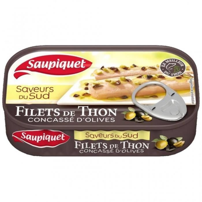 Saupiquet Filets de Thon Saveurs du Sud Concassé d'Olives 115g (lot de 5)