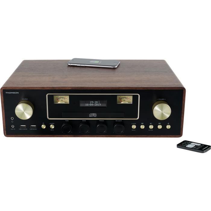 THOMSON MIC256IBT - Micro chaîne CD/MP3/USB - 50W - 20 stations mémorisables - Chargeur Induction - Bois/Marron