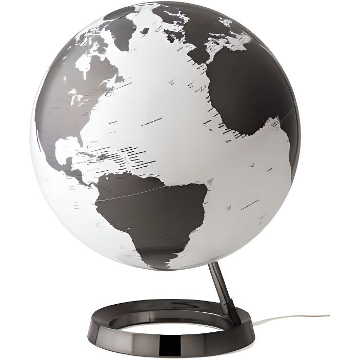 globe terrestre lumineux design blanc noir sur socle noir. Black Bedroom Furniture Sets. Home Design Ideas