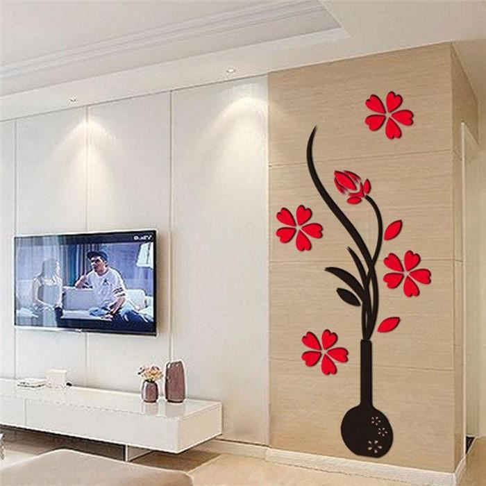 Diy Dcor Maison Sticker Mural Fleur Sticker Mirroir Stickers Muraux