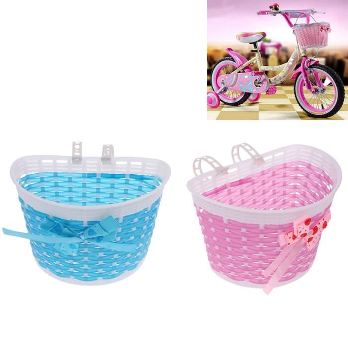Panier de Vélo Avant pour Enfant Fille avec Sangles en Plastique au Guidon