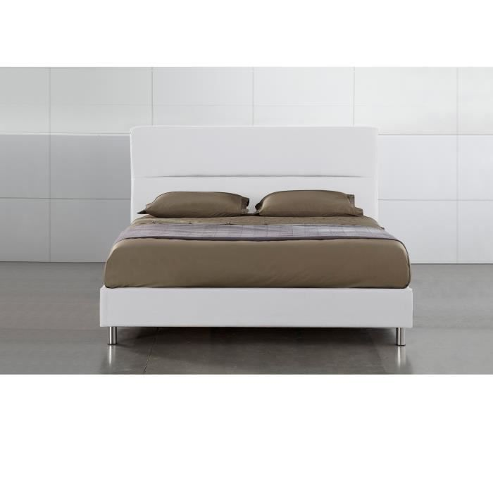 lit adulte discount mali blanc 160x200 cm livr avec matelas achat vente lit complet lit. Black Bedroom Furniture Sets. Home Design Ideas