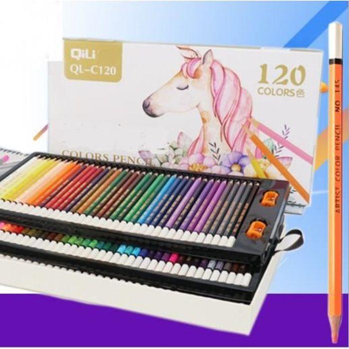 Set de 120 crayons aquarelle avec sac de transport pour colorier les dessins m/élange de superposition de crayons de couleurs aquarellables