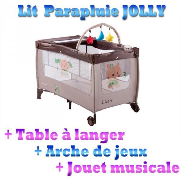 lit b b jolly de voyage parapluie pliant table langer arche de jeux marron achat. Black Bedroom Furniture Sets. Home Design Ideas