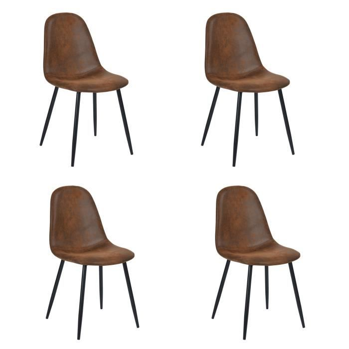 furnish1 lot de 4 chaises scandinave design tissu